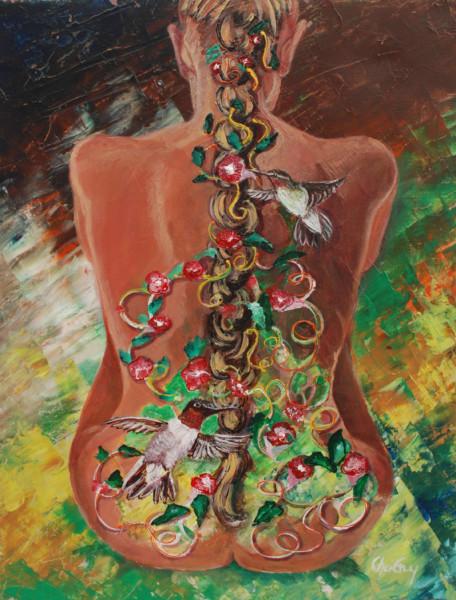 Femme colibri, acrylique, 18 x 14