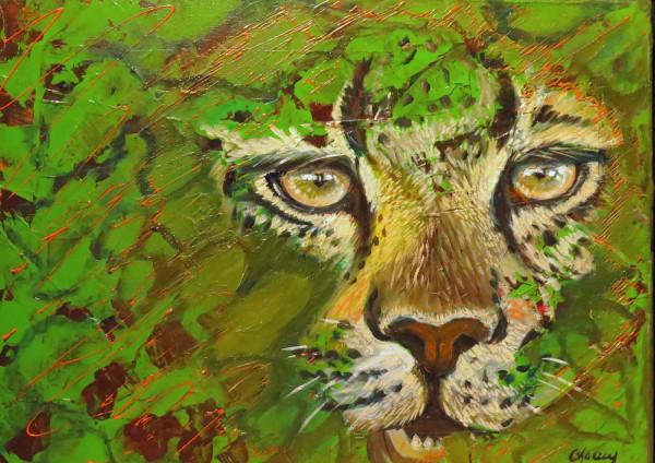 Regard vert, 12 x 16, huile sur acrylique
