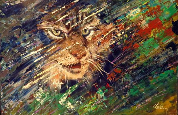 Lynx dans la nuit, huile sur acrylique, 12 x 16