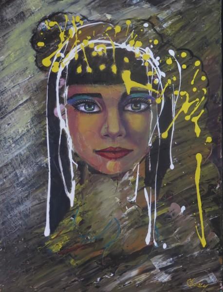 Dame Cléo - 24 x 18 po - acrylique sur toile