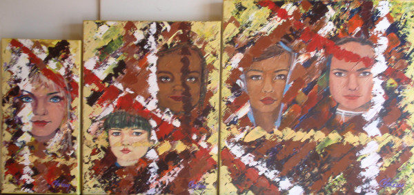 (Ensemble) Portrait d'humanité, enfant du monde, acrylique sur toile, 16x8 pouces, 18x14 pouces, 20x20 pouces