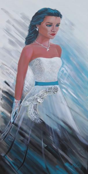Femme et harfang ou Harmonie du vent d'hiver - acrylique sur toile, 36 x 18 pouces