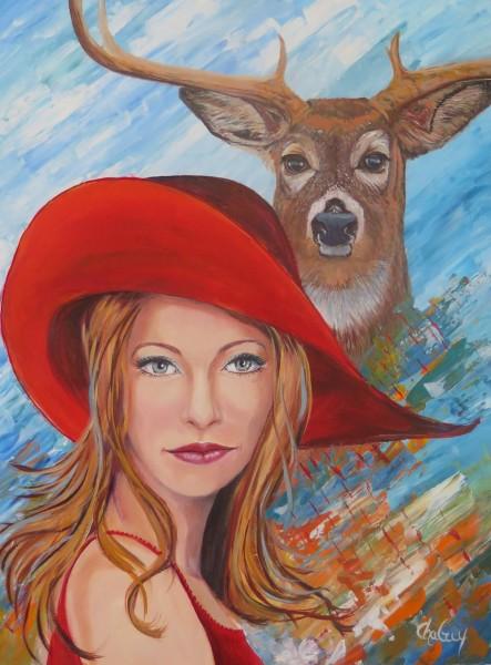 Je suis la compassion, l'amour,   24 x 18 po, acrylique sur toile