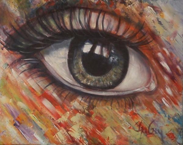 Oeil sur vous, acrylique sur toile, 16 x 20 pouces