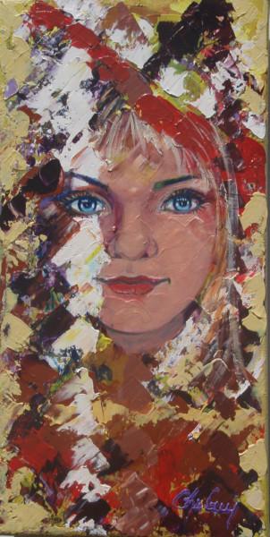 Portrait d'humanité 1, enfant du monde, acrylique sur toile, 16x8 pouces