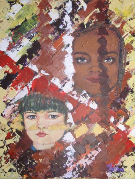 Portrait d'humanité, enfant du monde 2, acrylique sur toile, 18x14 pouces