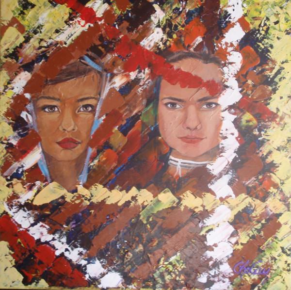 Portrait d'humanité, enfant du monde 3, acrylique sur toile, 20x20 pouces