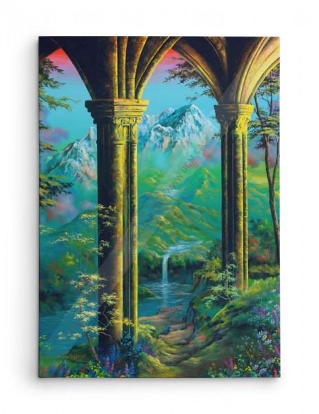 Les Colonnes d'Or / The Golden Pillars / Die goldenen Pfeiler / Las Columnas de Oro - acrylique et huile 40x30
