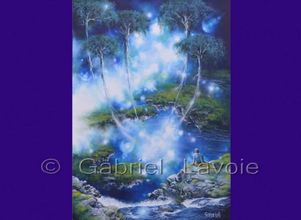 Ascension, acrylique et huile sur canevas, 20x28