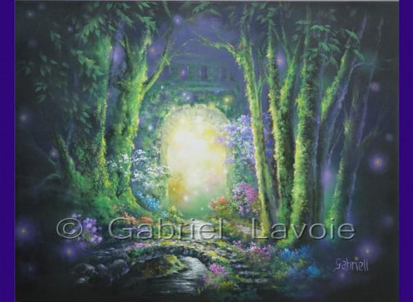 VENDUE - Un jardin la nuit, acrylique et huile sur canevas, 22x28