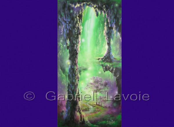 Vert... la guérison, acrylique et huile sur canevas, 15x30