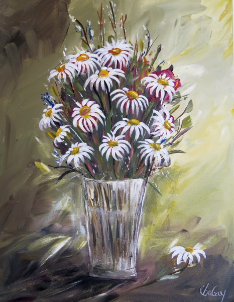 Échinacées blanches, acrylique sur toile, 16 x 12 pouces