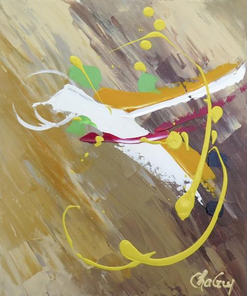 Oiseau II, acrylique sur toile, 12 x 10 pouces