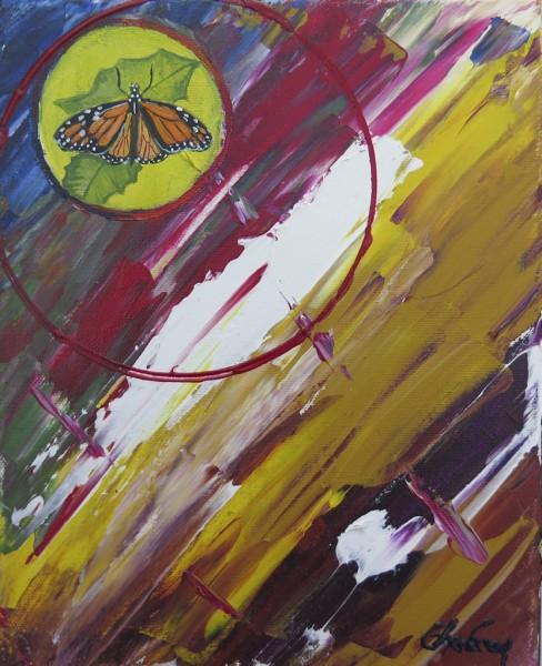 Capteur d'images - Papillon Monarque, acrylique sur toile, 10 x 8 pouces