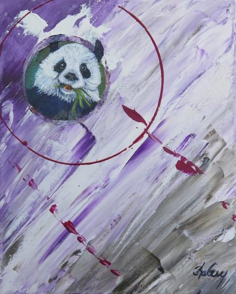 Capteur d'images - Panda, acrylique sur toile, 10 x 8 pouces