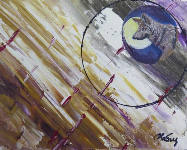 Capteur d'images - Loup, acrylique sur toile, 10 x 8 pouces