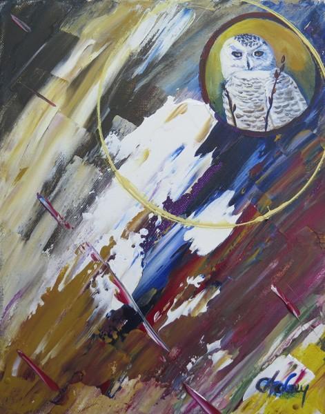 Capteur d'images - Harfang des Neiges, acrylique sur toile, 10 x 8 pouces