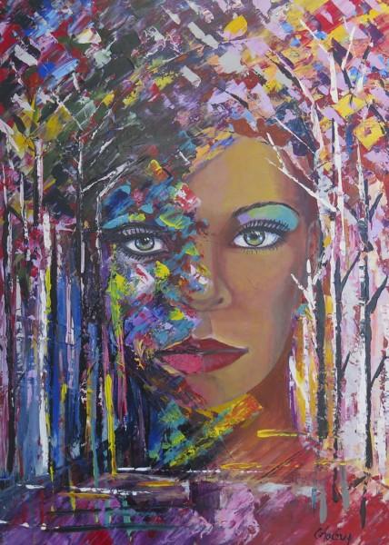 Émergence de la nature en couleur, acrylique sur toile, 28 x 20 pouces