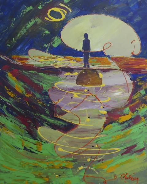 La profondeur de la solitude, acrylique sur toile, 20 x 16 pouces