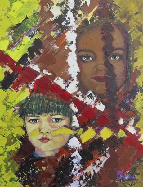 Les mots d'enfants du monde, acrylique sur toile, 18 x 14 pouces