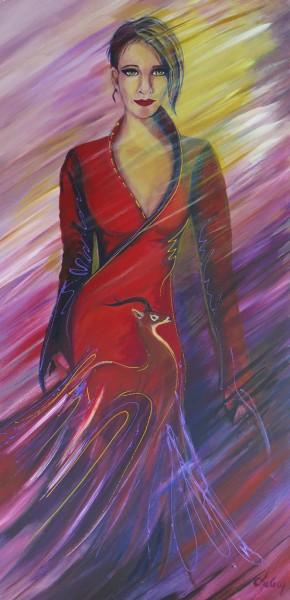 Dame au chevreuil, acrylique sur toile, 36 x 18 pouces
