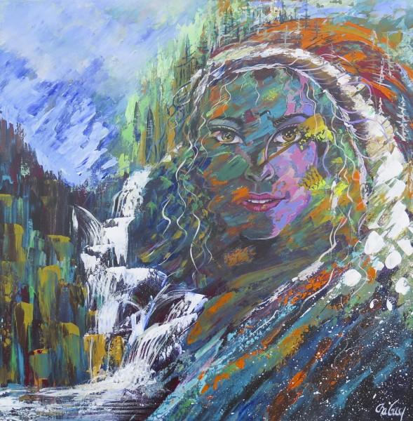 Dame Nature, acrylique sur toile, 24 x 24 pouces
