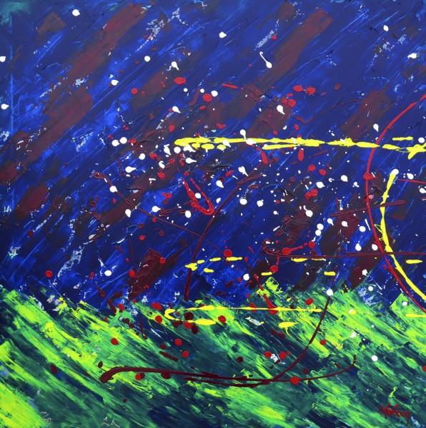 Mouvement dans la nuit, acrylique sur toile, 36 x 36 pouces