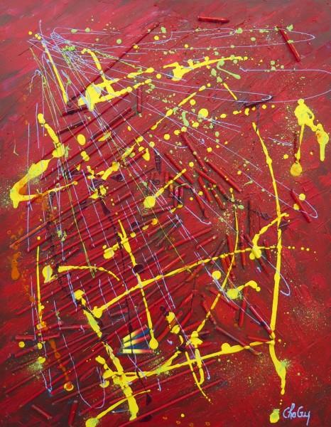 Les crayons jeunes, techniques mixtes sur toile, 30 x 24 pouces