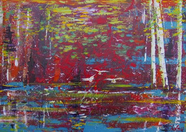Le Trio, acrylique sur toile, 20 x 28 pouces