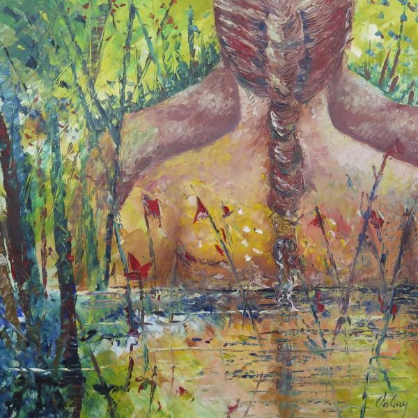 Adam et Eve, acrylique sur toile, 20 x 20 pouces