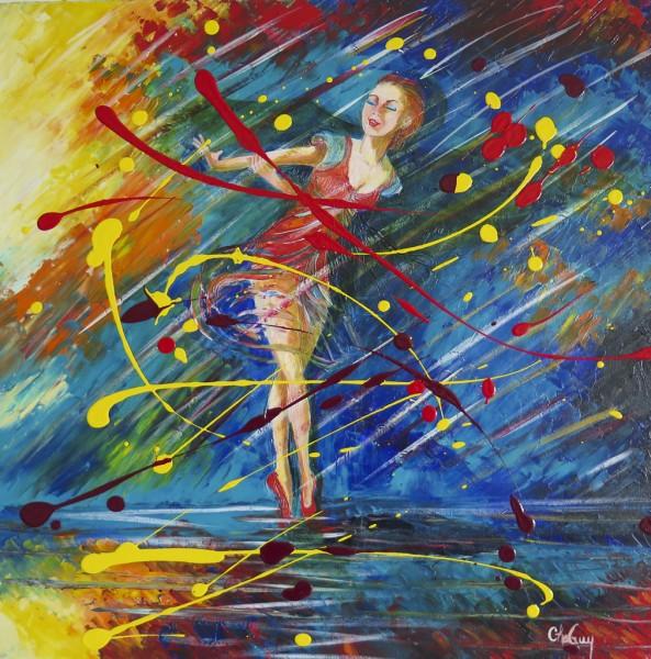 Mouvement II (ballerine), acrylique sur toile, 24 x 24 pouces