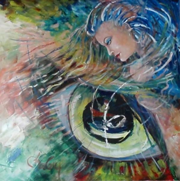 La dame du Lac, acrylique sur toile, 36 x 36 pouces (90 x 90 cm)