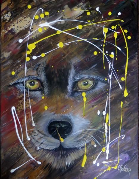 Lobo le loup - 24 x 18 po - acrylique sur toile