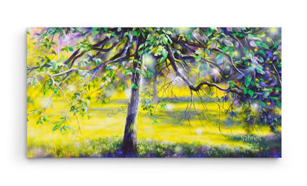 Sous tes branches, acrylique et huile, 30x15