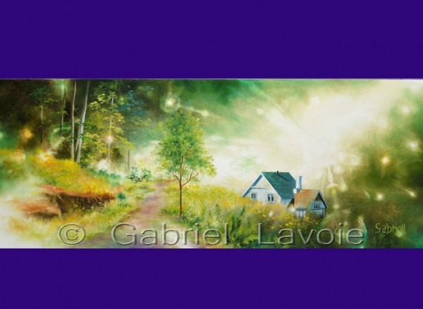 J'habite la vie, acrylique et huile sur canevas, 30x15