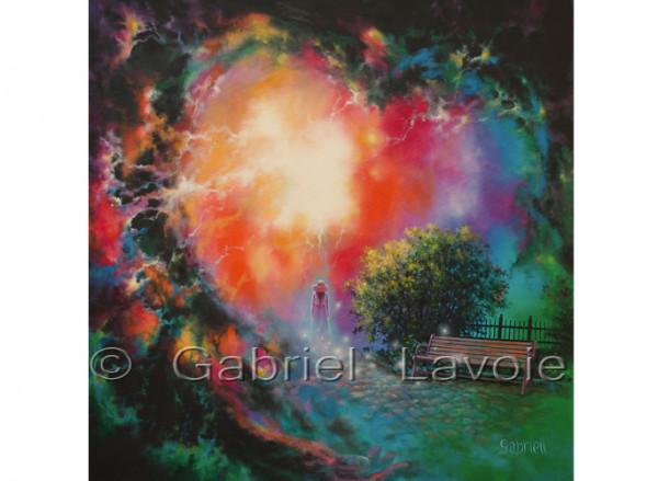 Le chemin du coeur - Huile et acrylique sur toile - 30