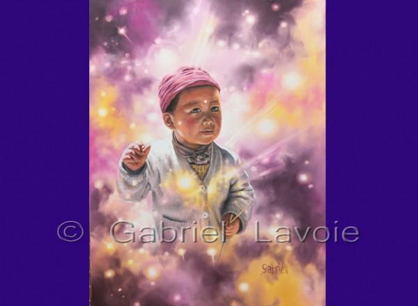 L'enfant sacré, huile sur canevas, 20x26
