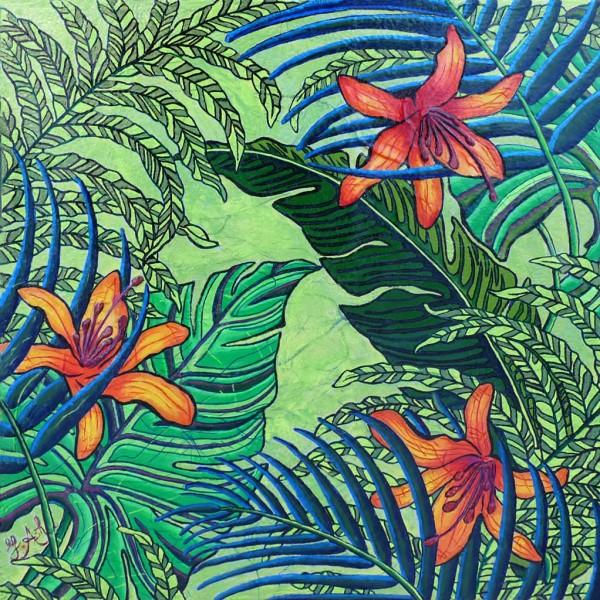 Feuilles tropicales et lys