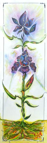 Les iris bleus et mauves