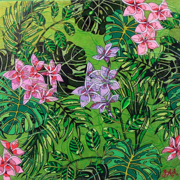 Feuilles et fleurs rose tropicales