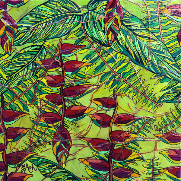 Feuilles et héliconias tropicales
