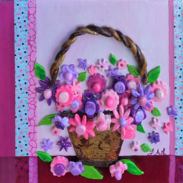 La corbeille de fleurs en 3D - pâte Fimo