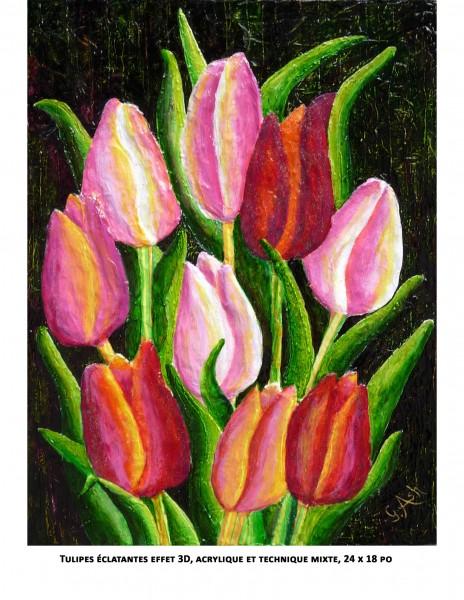 Tulipes éclatantes effet 3d