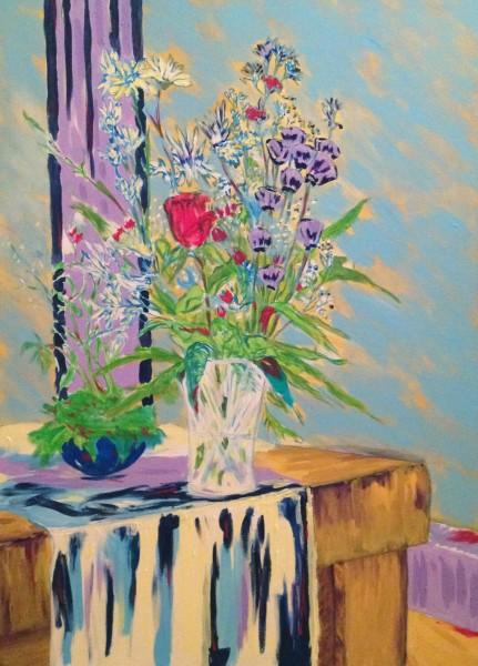 Bouquet (non terminé), huile sur toile