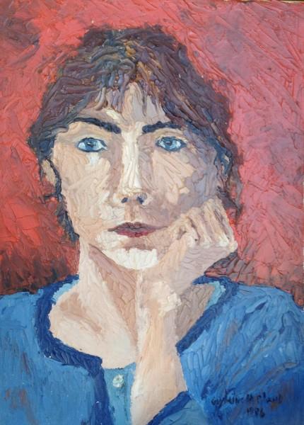 Autoportrait - 1986 - huile sur toile, 10 x 14 pouces (25 cm x 35 1/2 cm)