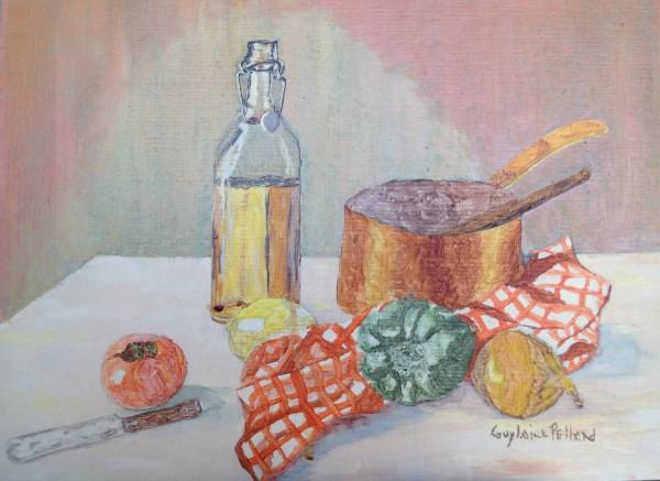 Bouteille d'huile et légume - canevas sur carton, 12 x 16 pouces (30 cm x 40 cm), 1984 (travail de recherche)