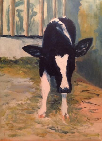 Veau de lait - huile sur toile, 12 x 16 pouces (30 cm x 40 cm), 1986